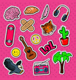 teenager lifestyle fashion stickers patches vector image