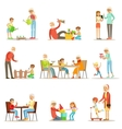 Grandfather And Grandmother Spending Time Playing vector image