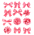 Big set of pink gift bows and ribbons vector image vector image