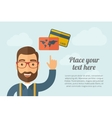 Man pointing the credit cards icon vector image