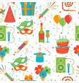 cartoon happy birthday party seamless pattern vector image