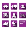 Funny transport icons set vector image