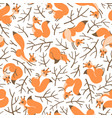 Scurry of squirrels on the branches seamless vector image