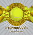 Tennis Emblem with Geometric Background vector image