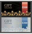Two Voucher templates with gold silver premium vector image