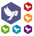 Dove carrying envelope icons set vector image