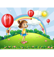 A happy girl watching the air balloons vector image