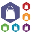 Shopping bag hexagon icon set vector image