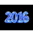 Number 2016 formed by glowing blue squares vector image