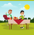 cartoon father and son preparing for barbecue vector image