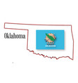 oklahoma state map and flag vector image