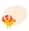 Funny cartoon chicken hen surprised or jumping vector image vector image