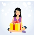 Happy girl with gift box vector image