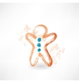 gingerbread man grunge icon vector image vector image