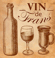 Sketch wine bottle and glass vector image