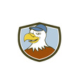 American Bald Eagle Head Smiling Shield Cartoon vector image