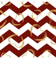 Golden sketch hearts seamless pattern zig zag red vector image