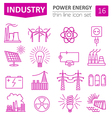 Power energy icon set Thin line design vector image
