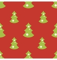 Seamless pattern with christmas green trees red vector image
