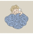 Sleeping angel on cloud hand drawn vector image