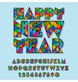 Patched Happy New Year greeting card vector image vector image