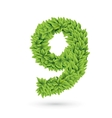 Number of green leaves with shadow vector image vector image