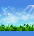green grass lawn with sunrise on blue sky vector image
