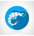 Shrimp flat round icon vector image