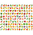 fruit and vegetables color icons set vector image