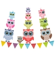 Funny owls family vector image vector image