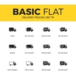 Basic set of Delivery trucks icons vector image