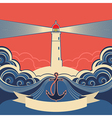 Lighthouse label with anchor and blue sea waves vector image