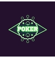 Round Green Poker Neon Sign vector image