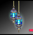 two gold lanterns with blue light from a candle vector image