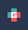 Letter G cross plus logo icon design template vector image vector image