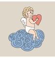 Cute angel on cloud hand drawn vector image