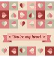 Greeting card with hearts and ribbon vector image vector image