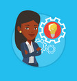 Woman with business idea bulb in gear vector image