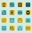 set of 16 commerce icons includes recurring vector image