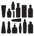 Set of cosmetic bottles silhouettes vector image