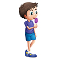 A young boy eating lollipop vector image vector image