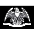 eagle heraldry with blank ribbon vector image