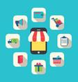 Concept of Online Shop E-commerce Colorful Simple vector image