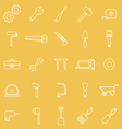 Tool line icons on yellow background vector image