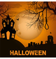 Halloween background with spooky house trees and vector image vector image
