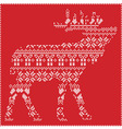 Reindeer body in scandinavian patternon red vector image