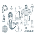 set with sailor lighthouse mermaid ship and vector image