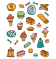 Colorful collection of sweet desserts vector image