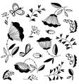 Doodle floral decorative design elements set vector image vector image