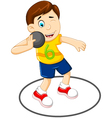 cute Man athlete doing shot put vector image